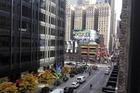 Dit was ons uitzicht vanaf voorzijde van het hotel. In de verte ligt Radio city music hall.
