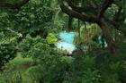 Tuin en zwembad vanuit de kamer