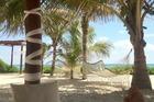 Vanaf het strand gezien, samen liggen in een heerlijk romantisch bedje en een cocktail in je hand!