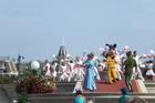 Show op het plein voor het kasteel. Is niet meer