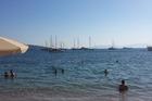 vanaf het strand